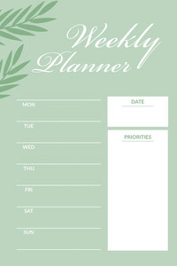 Green Weekly Planner Pinterest Graphic Timetable Maker