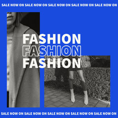 Blue and White Fashion Instagram Square Sale Flyer