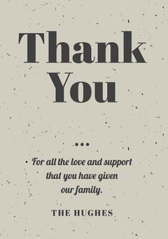 Beige Thank You for Attending Funeral Card Typography
