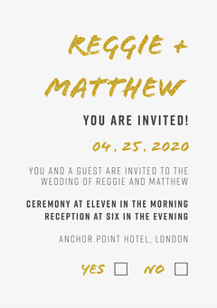 Gold and White Wedding Invite Gold