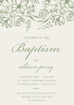 Green Elegant Floral Daughter Baptism Invitation Card Baptism