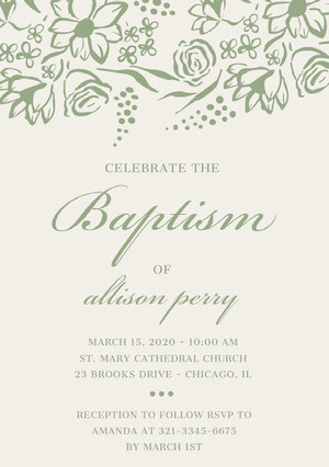 Green Elegant Floral Daughter Baptism Invitation Card Baptism Invitation