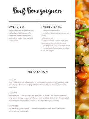 Beef Bourguignon Recipe Card 조리법 카드