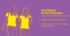 Yellow and Purple Illustrated Funny Conversation Facebook Post Graphic California