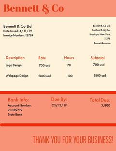 Orange Graphic Design Business Invoice Designer