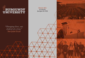 Brown Modern University Brochure with Geometric Shapes and Students Brochure