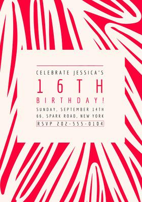 16TH BIRTHDAY! Birthday Invitation (Girl)