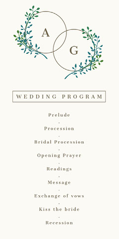 White and Green, Light, Delicate, Minimalistic, Plant Motive, Wedding Program Rustic Wedding Invitation