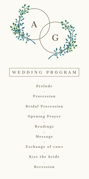 White and Green, Light, Delicate, Minimalistic, Plant Motive, Wedding Program Programação de casamento