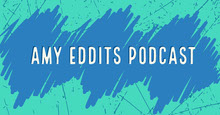 Blue and White Amy Eddits Podcast Banner Portada de Facebook