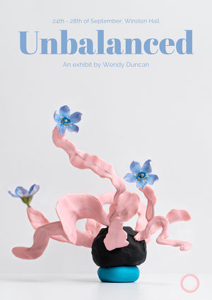 Pink and Blue Minimalistic Flower Sculpture Art Exhibition Poster  Kunstplakat