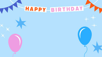 Blue Happy Birthday Zoom Background with Balloons and Bunting Planos de fundo para Zoom
