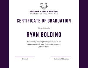 Ryan Golding  Certificat de diplôme