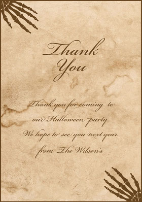 Beige Old Bones Halloween Party Thank You Card Carte de remerciement