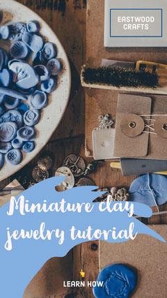 Blue Miniature Clay Jewelry Tutorial Instagram Story Jewelry