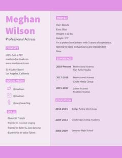 Pink Actress Resume Jazz