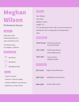 Pink Actress Resume Curriculum per attori