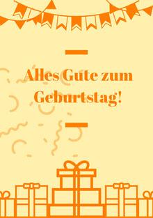 orange and light yellow birthday cards  Geburtstagskarte