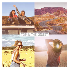 Desert Trip Square Instagram Graphic with Tourists and Collage Desert