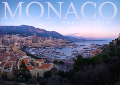 Blue and a Pink Photograph of Harbor Monaco Monte Carlo Postcard Sunset