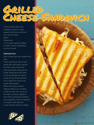 Grilled Cheese Sandwich Recipe Card 조리법 카드