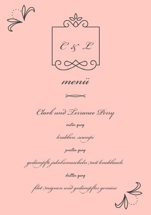 light pink wedding menu  Menü