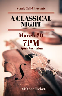 Light Toned Classical Music Night Event Poster 포스터