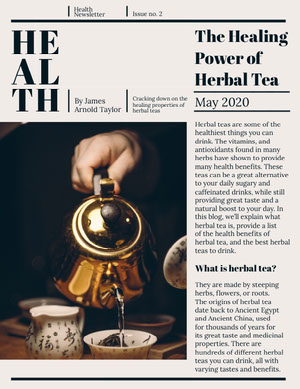 Health and Herbal Tea Newsletter Newsletter Examples