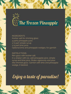Illustrated Frozen Pineapple Recipe Card Fruit