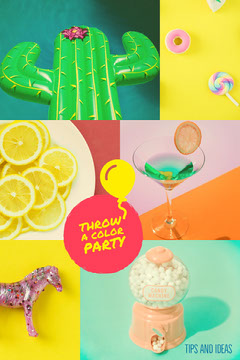 Multicolored Color Party Tips and Ideas Pinterest Graphic Cactus