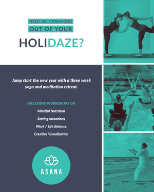 Blue Grey and White Yoga Advertisement Yoga Posters