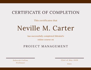 Brown Online Course Completion Certificate Certificat