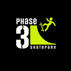 Black White and Green Phase 3 Skatepark logo Square Neon