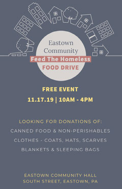 Blue and White Homeless Food Drive Poster Donations Flyer