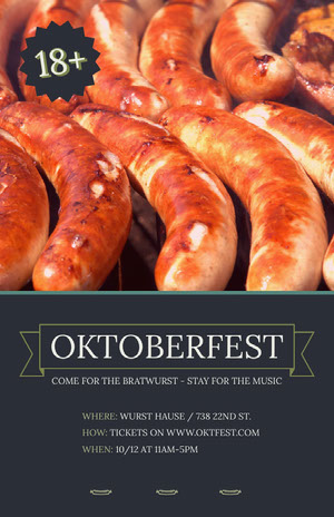 Oktoberfest Event Flyer with Sausages Oktoberfest Invitation Templates