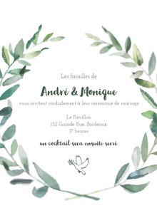 dove leafed wedding cards Carte de remerciement de mariage