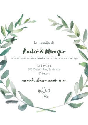 dove leafed wedding cards Invitation de mariage