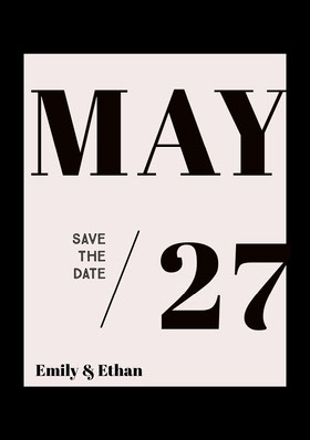 Black and White Save the Date Wedding Card Save the date-kaart