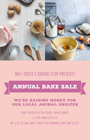 ANNUAL BAKE SALE Pink Flyers