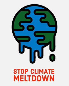 Illustrated Climate Change Instagram Portrait Graphic with Melting Planet Climate Change Posters