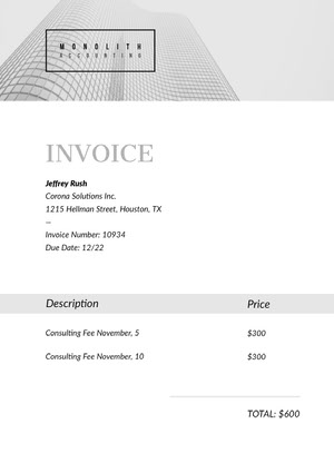 Black and White Accounting Company Service Invoice with Logo Lasku