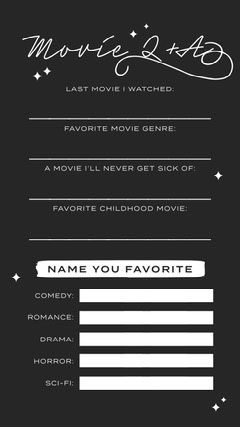Black and White Fill In Movie Q&A Instagram Story Comedy