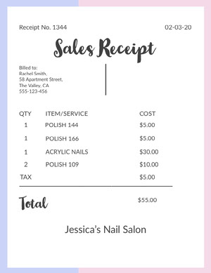 White, Pink and Blue Nail Salon Sales Receipt  Report Card