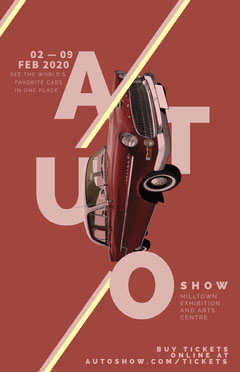 Red Car Auto Show Event Flyer Car