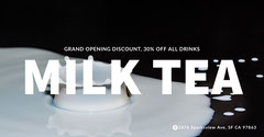 Black and White Minimalistic Milk Tea Ad Facebook Banner Grand Opening Flyer
