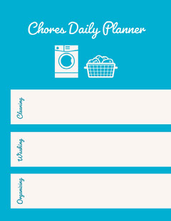 Blue and White Empty Daily Planner Card Cleaning Service