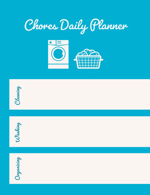 Blue and White Empty Daily Planner Card Agenda giornaliera