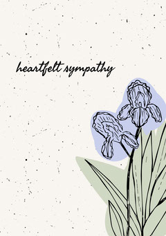 Floral Illustrated Sympathy Card Flowers