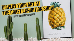 Art Exhibition Twitter Post Graphic with Cacti and Pineapple Art Exhibition