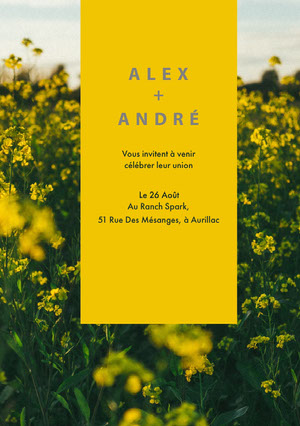 yellow floral wedding invitations  Invitation de mariage